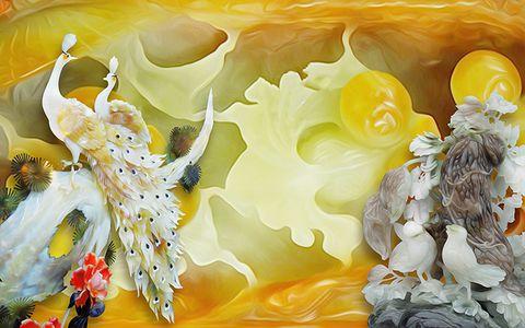 th 2153 Tranh hoa sen cá BH-054 đá hoa cương