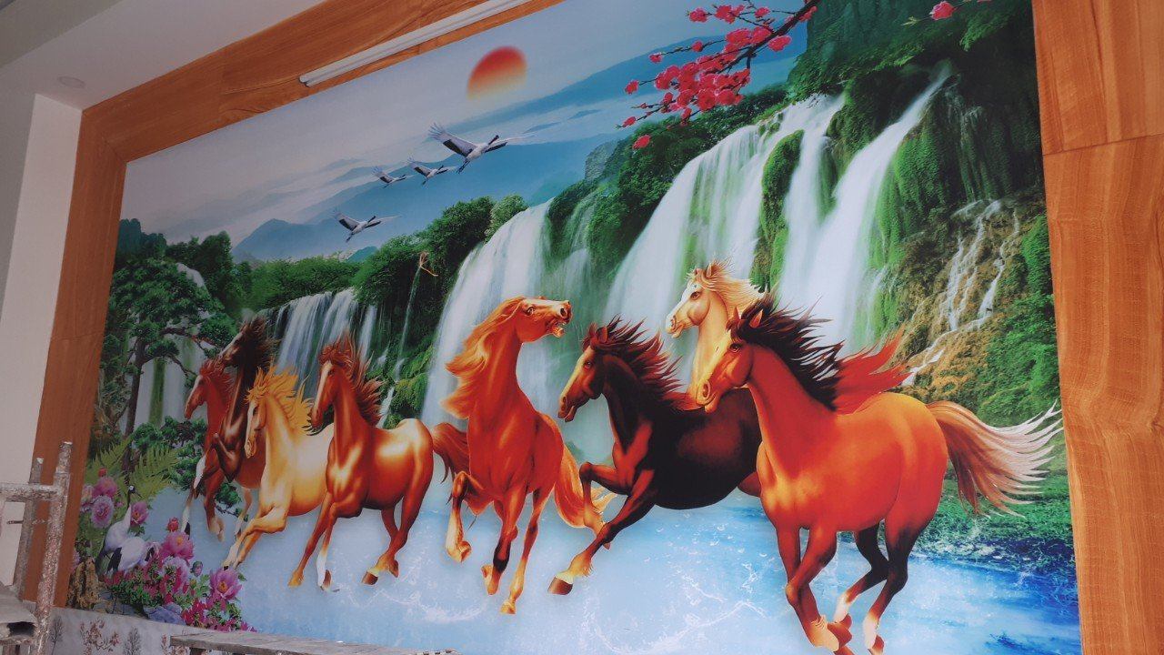 TRANH 8NGUA PHAT tranh dán tường phong thủy 8 ngựa đại cát đại lợi