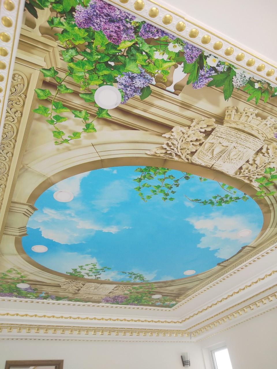 tranh dan tran bau troi Tranh Dán Trần Nhà 3D Vòm Trời