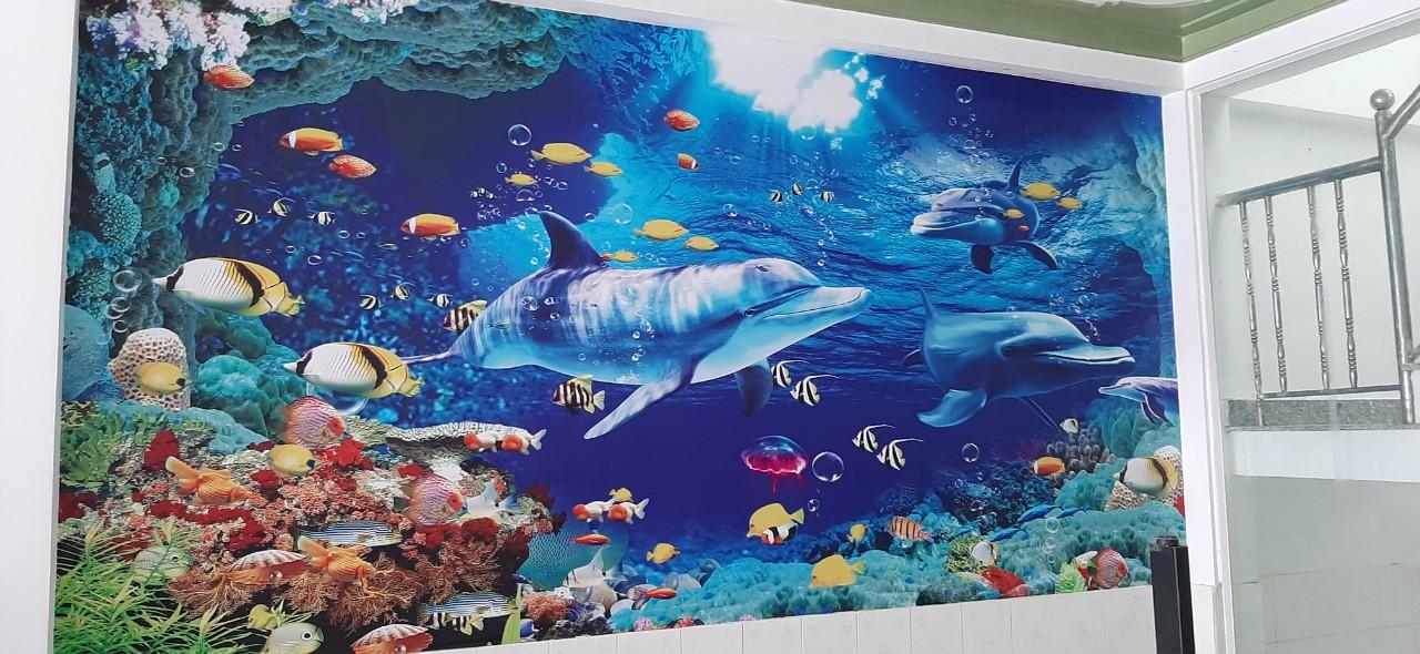 tranh huma 2888 Tranh Dán Tường 3D Cá Heo San Hô Human 2888