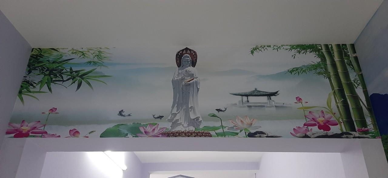43aaf315a5d4428a1bc5 Tranh Dán Tường 3D Phật Mẹ Quan Âm Và Sen Trúc