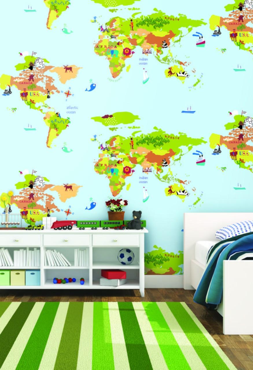5c50f2aebf30596e0021 Giấy Dán Tường Trẻ Em Bản Đồ Thế Giới Dream World A5055-1